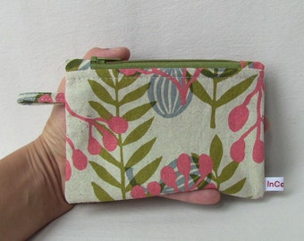 zip pouch with pink green floral motif, coins purse, zip cotton wallet, pocket wallet, card pouch, card holder, washable, cotton fabrics