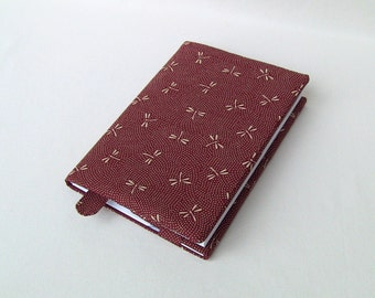 book cover, notebooks sleeve, A5 format, adjustable, inner side pocket, built-in bookmark, cotton fabrics, washable, bordeaux, dragonflies