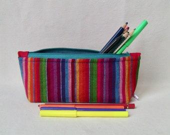 rainbow pencils case, zip cotton case, pencils purse, bag organiser, cotton and water resistant fabric, washable