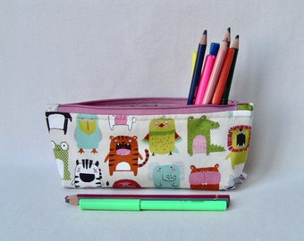 zip cotton pencils case with cute animals, pencils purse, bag organiser, cotton and water resistant fabric, washable, kids gift