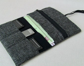 tobacco pouch cotton with whirls on black, tobacco bag, zip wallet, foldable pouch, tobacco carrier inner pockets, cotton fabrics, washable