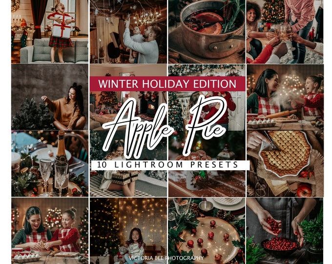 10 Christmas Lightroom Presets, Lightroom Mobile Instagram Preset for winter holiday,  Desktop Presets for Bloggers, Instagram Photo Filter