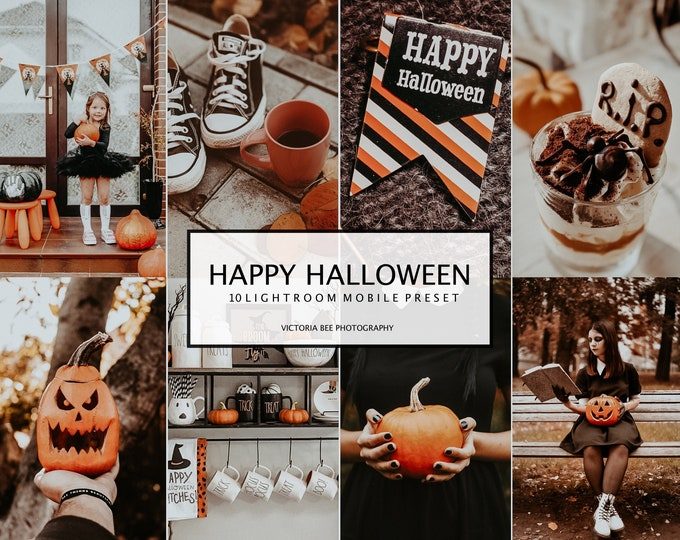 10 LIGHTROOM Presets HAPPY HALLOWEEN, Autumn Mobile Presets, Fall Instagram Filter, Warm Photo Filter