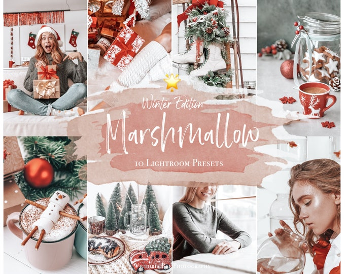 10 Mobile Presets Marshmallow, Christmas Presets for Lightroom, Bloggers Presets for Mobile and Desktop Lightroom, Holiday Winter presets