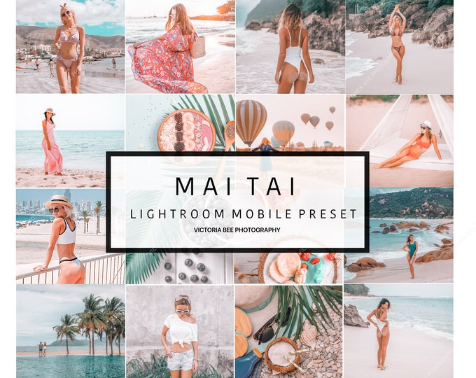 5 Lightroom Mobile Presets MAI TAI  Influencer Lightroom Preset for Travel Bloggers Instagram Photo Editing