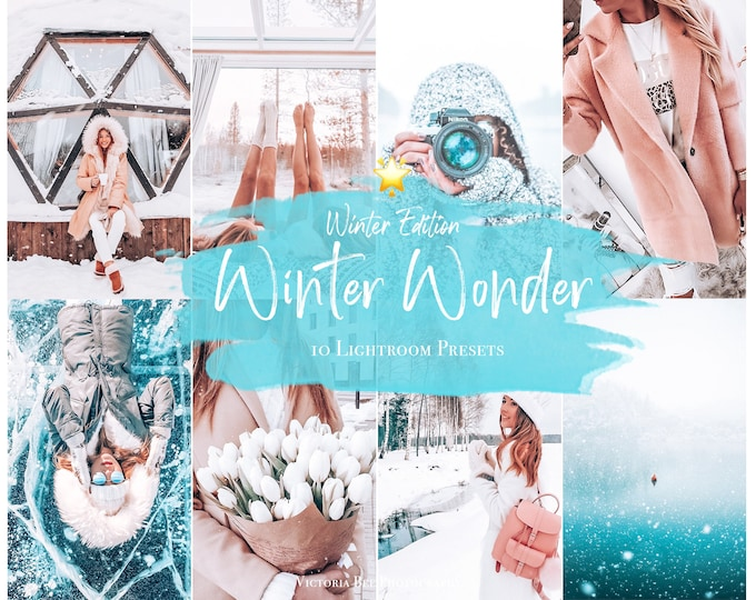 10 WINTER Mobile Presets for Holiday, White Christmas Presets for Desktop and Mobile Lightroom, Winter Bright Presets