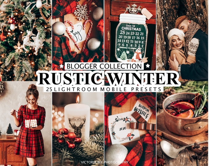 25 Mobile Presets for Lightroom • Presets Rustic Winter • Desktop Presets for Lightroom • Christmas Filter for Instagram • Photo Editing
