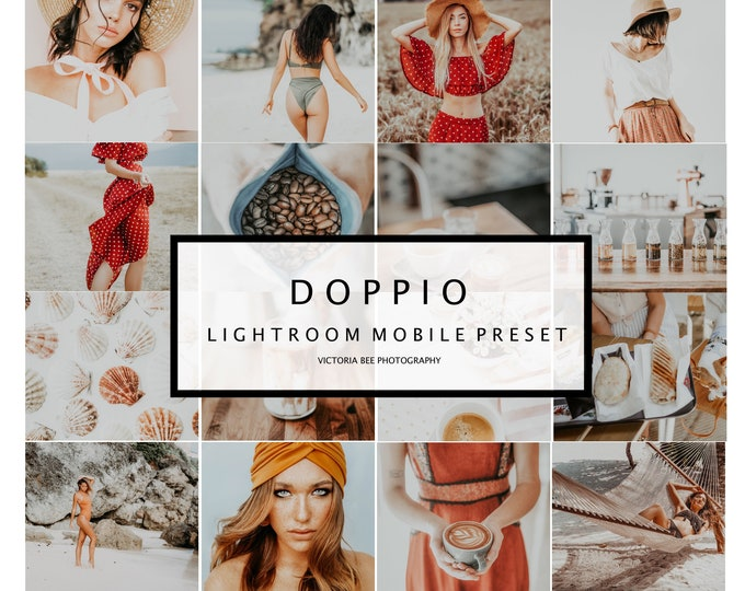 5 Mobile Lightroom Preset DOPPIO, Travel Blogger Lifestyle Mobile Preset for instagram