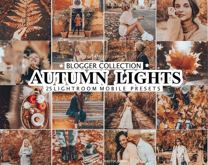 25 Lightroom Presets AUTUMN LIGHTS for Desktop and Mobile, Fall Presets, Warm Instagram Filter, One Click Photo Editing