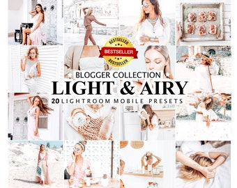20 Lightroom Presets LIGHT AND AIRY, Bright and Clean Instagram Presets, Mobile and Desktop Photo Filter, Instagram Photo Editing