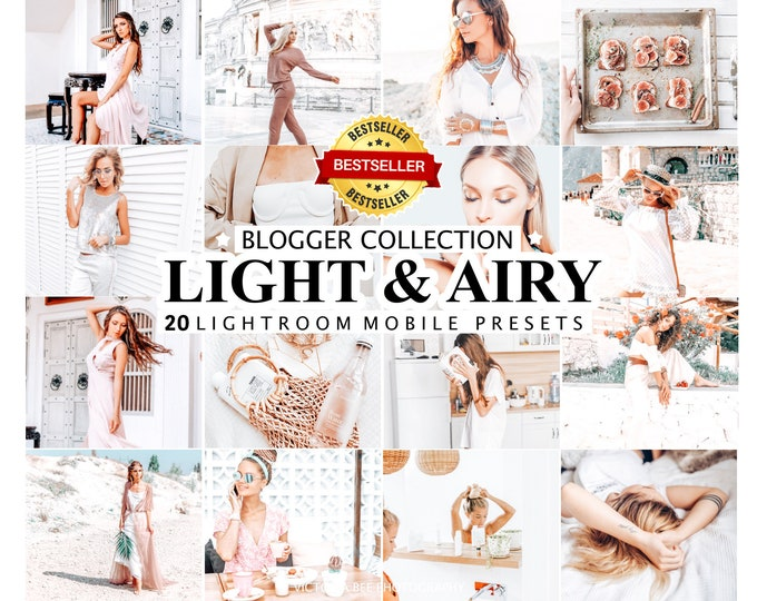 20 Lightroom Presets LIGHT & AIRY, Instagram Presets, Mobile and Desktop Presets, Bright Photo Filter for Instagram, Presets lightroom