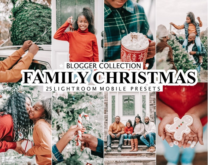 25 CHRISTMAS Presets for Lightroom, Family Mobile Presets, Holiday Winter Instagram Filter, Blogger Presets