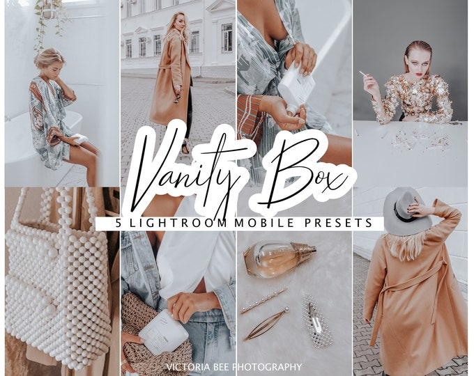 5 Mobile Lightroom Preset VANITY BOX Instagram Lifestyle Preset for Bloggers, Fashion Warm Presets, Preset for Influencer, Photo Editing