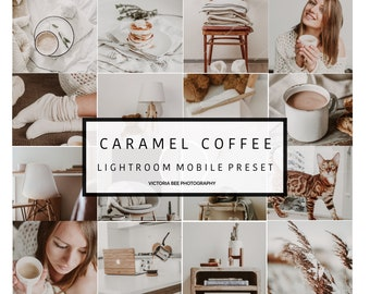 5 Mobile Lightroom Preset CARAMEL COFFEE  Creamy Mobile Preset  Airy Blogger Preset for Photo Editing  Instagram Edition