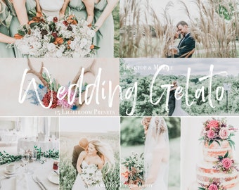 15 Mobile Lightroom Presets WEDDING GELATO, Mobile Bright and Light Presets, Desktop Wedding Presets, Airy presets