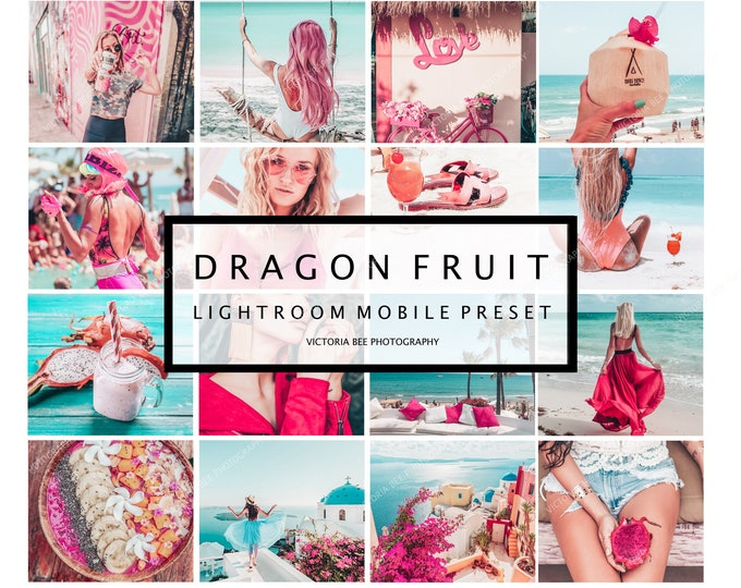 5 Lightroom Mobile Presets DRAGON FRUIT, Summer Preset, Influencer Presets, Bloggers presets, Instagram Presets, presets mobile
