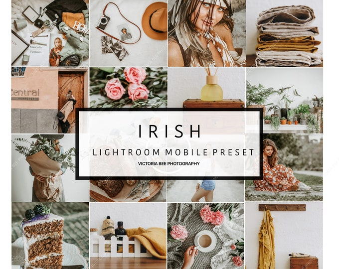 5 Mobile Lightroom presets IRISH Bright Airy Mobile Presets Indoor Outdoor Light Presets, Pastel Instagram Editing