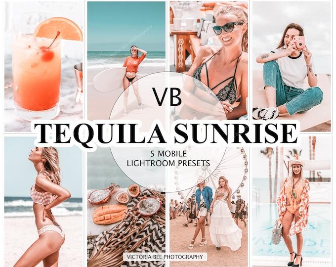 5 Lightroom Mobile Presets TEQUILA SUNRISE /  Influencers  Lightroom Preset / Summer Mobile Presets, Phone presets