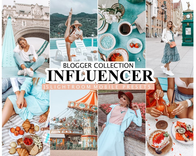 15 Lightroom Presets INFLUENCER for Desktop and Mobile Lightroom, Photo Filter for Bloggers,  Instagram Presets, Lifestyle Preset