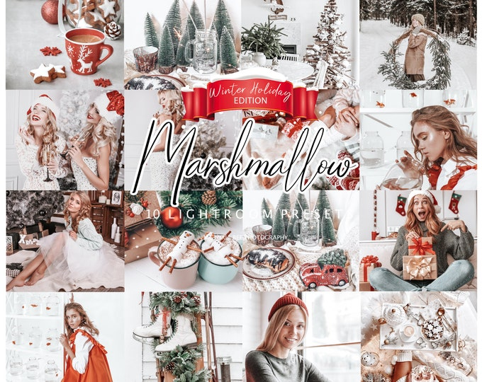 10 CHRISTMAS Presets Marshmallow, Presets for Lightroom, Presets for Mobile, Desktop Lightroom Presets, Holiday presets, Winter Presets