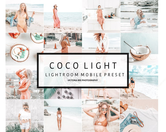 5  Lightroom Mobile Presets COCO LIGHT, Bright and Airy Preset, Influencer Lightroom Bright Presets for Bloggers, Instagram Clean Preset
