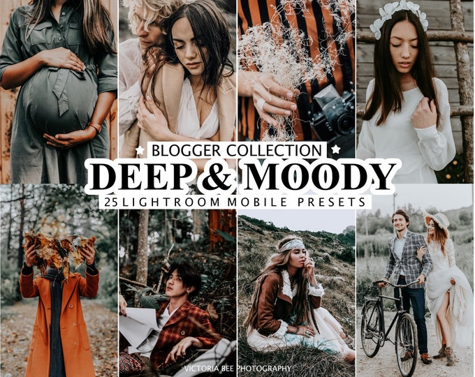 25 Lightroom Presets DEEP MOODY For Mobile and Desktop Lightroom, Moody and Rich Presets, Dark Instagram Filter, Travel Boho Preset
