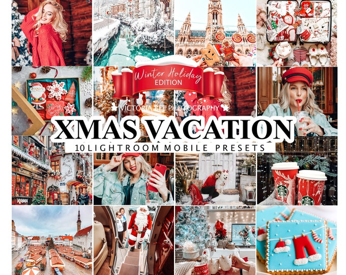 10 LIGHTROOM PRESETS Christmas Vacation, Mobile CHRISTMAS Presets, Lightroom Desktop Presets, Instagram Presets, Preset for Bloggers