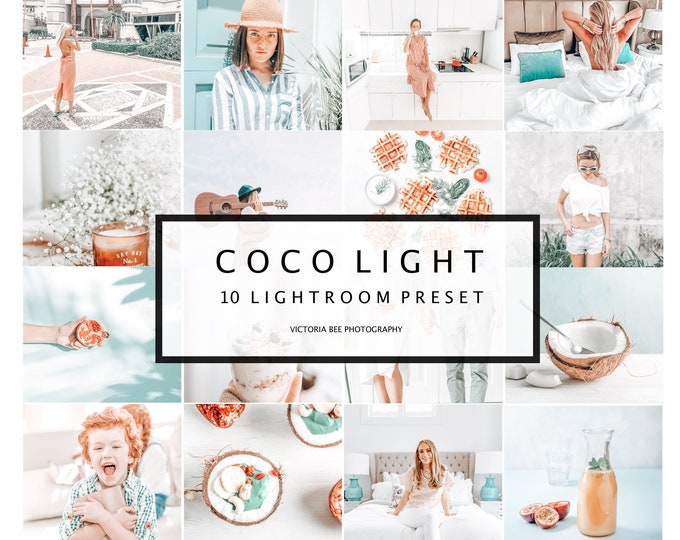10 Mobile Lightroom Presets Coco Light, Lightroom Desktop Presets, Instagram Presets, Light and Airy Preset for Bloggers