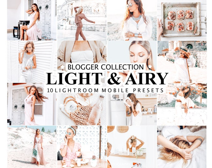 10 Lightroom Presets LIGHT & AIRY Mobile Presets for Instagram, Bright and Airy Presets, Desktop  Light and Clean Photo Filter