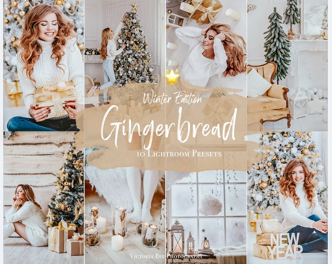 10 CHRISTMAS Presets, Mobile Lightroom preset Gingerbread, Winter Preset for Holidays, Filter for Instagram, Christmas preset, Photo Editing