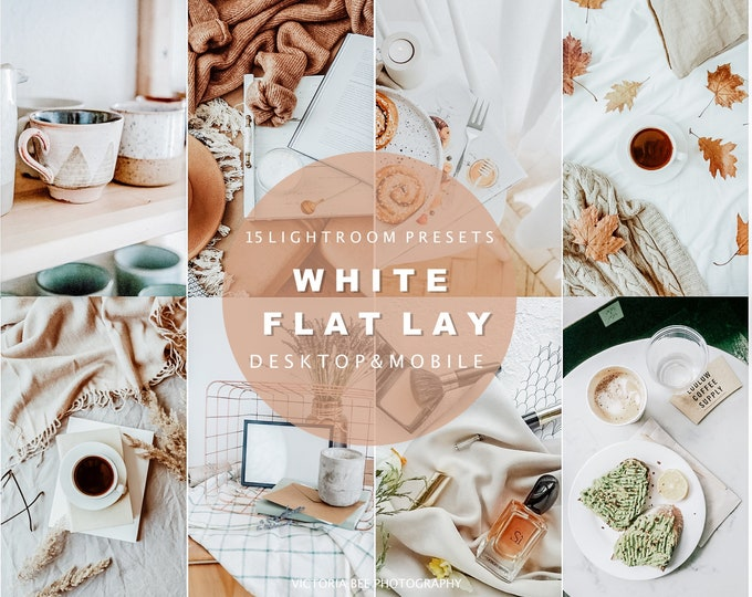 15 Lightroom Presets WHITE FLAT LAY, Natural Mobile Presets, White Background Product Photography Presets, Clean Tones