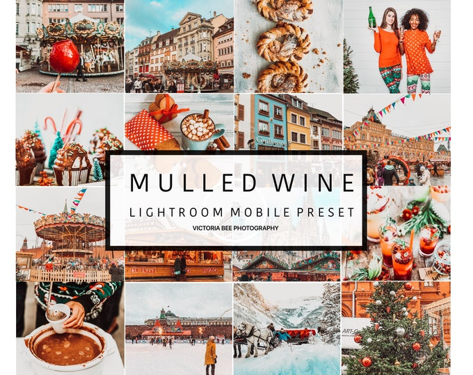 Mobile Lightroom Preset MULLED WINE  Winter Holidays Preset Christmas Lightroom Preset