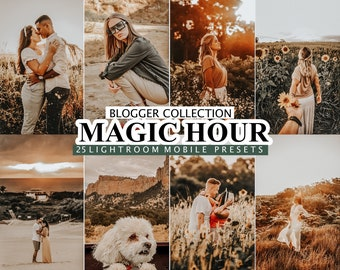 25 Mobile and Desktop Lightroom Presets, Magic Hour presets, Sunny Golden Lightroom Preset, Warm Instagram Filter, Sun Travel Summer Blogger
