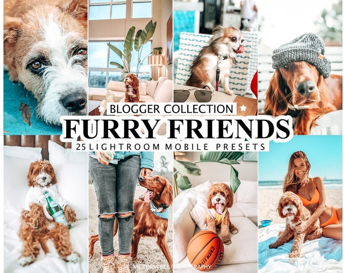 25 Lightroom Presets FURRY FRIENDS for Mobile and Desktop Lightroom, Pet Preset, Dog Instagram Filter, Bright Light Preset