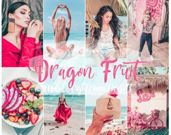 5 Lightroom Presets DRAGON FRUIT for Mobile Lightroom, Blogger Photo Filter for Instagram, Victoria Bee Presets
