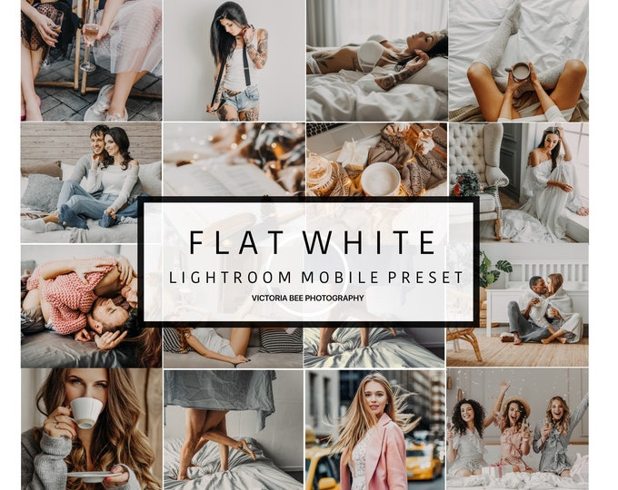 5  Lightroom Mobile Presets FLAT WHITE Blogger Presets for Instagram Boudoir preset Warm Clean Tones Mobile Preset