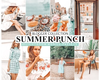 10 Lightroom Presets SUMMER PUNCH For Mobile and Desktop Lightroom /  Instagram Blogger Presets / Summer Preset Photo Editing