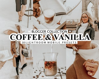 10 Mobile Lightroom Presets COFFEE & VANILLA, Beige Presets for Mobile and Desktop, Nude Tone Presets for Bloggers, Instagram Photo Filter
