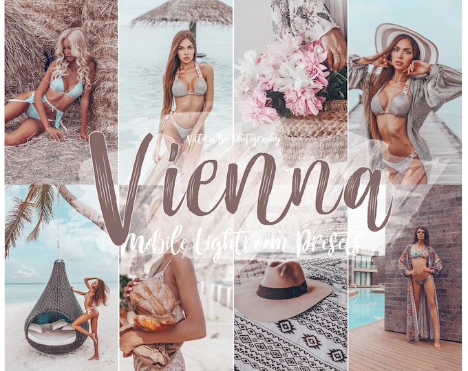 5 Mobile Lightroom Presets VIENNA,  Blogger Presets for Instagram,  Tanned Presets for Summer, Instagram Filter