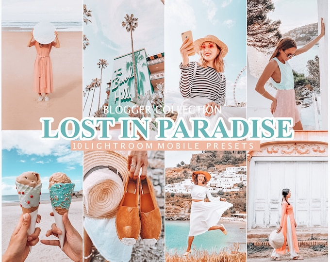 10 Lightroom Presets Lost In Paradise for Mobile and Desktop Lightroom,  SUMMER Blogger Lifestyle Presets, Instagram Photo filter