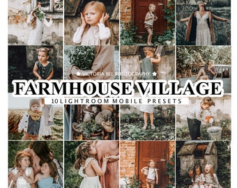 10 Mobile Lightroom Presets FARMHOUSE VILLAGE for Mobile and Desktop Lightroom, Warm Presets, Instagram Presets for Bloggers, Photo Filter
