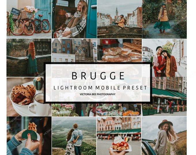 5 Mobile Lightroom Preset BRUGGE Travel Lightroom Preset Warm Toned Preset For Bloggers, Instagram Filter