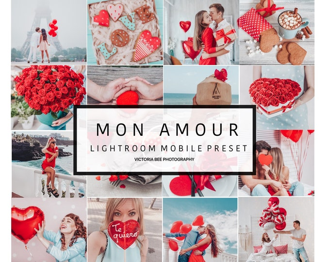 5 Mobile Lightroom Preset MON AMOUR Valentine Instagram Lightroom Preset for Blogger