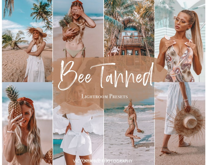 5 BEE TANNED Lightroom mobile presets / instagram influencer filter / summer preset / tan preset