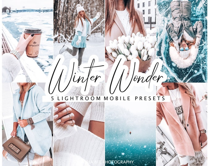 Lightroom Presets WINTER WONDER For Mobile / Influencer Photo Filters DNG file / 5 Winter Presets For Instagram Blogger