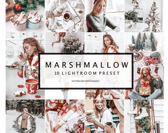 10 Mobile Presets Marshmallow, Christmas Presets for Lightroom, Presets for Mobile, Desktop Lightroom, Holiday presets, Winter Presets