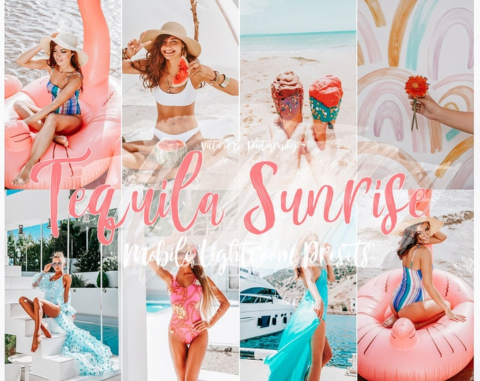 10 Lightroom Mobile Presets TEQUILA SUNRISE / Summer Instagram Filter / Bright Light Presets for Desktop and Mobile Lightroom