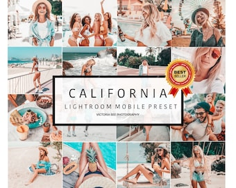 10 Mobile Lightroom Presets CALIFORNIA, Blogger Lightroom Mobile Presets Bright Summer Presets Instagram Presets Photo Filter