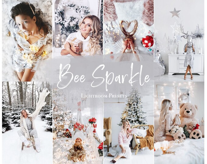 5 White Christmas Lightroom Presets BEE SPARKLE Influencer Lightroom Presets for Holiday, Bright Instagram Filter, Winter Preset