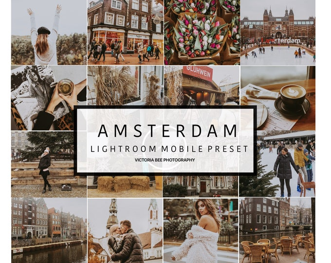 5 Lightroom Mobile Presets AMSTERDAM Travel Lightroom Preset Warm Toned Blogger  Preset